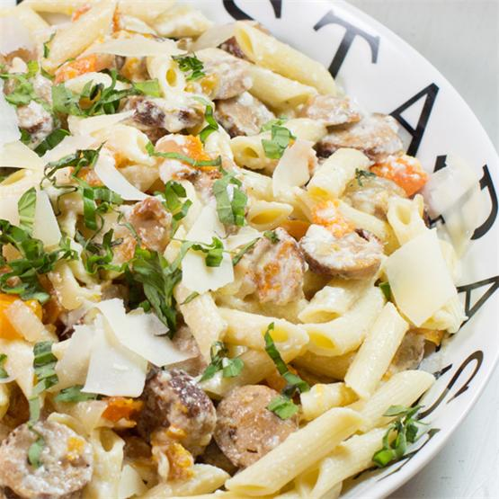 Butternut Squash and Chicken Sausage Pasta