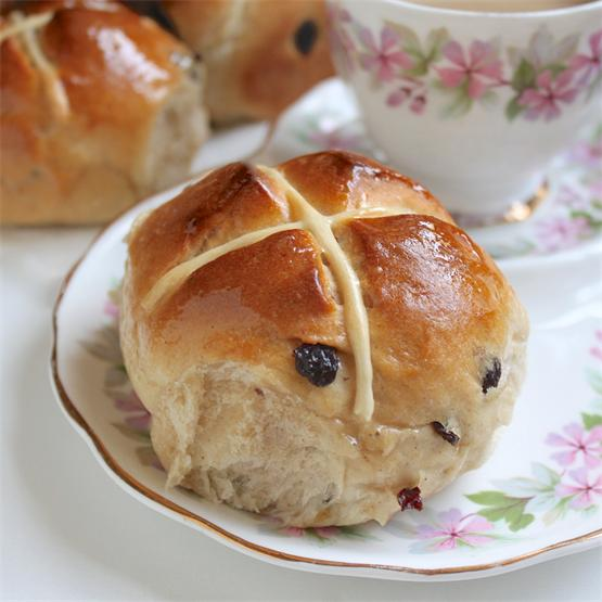 Light and deliciously spiced Hot Cross Buns; perfect with tea!