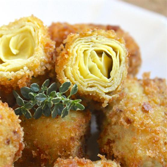 Crispy Breaded Artichoke Hearts - Italian Style