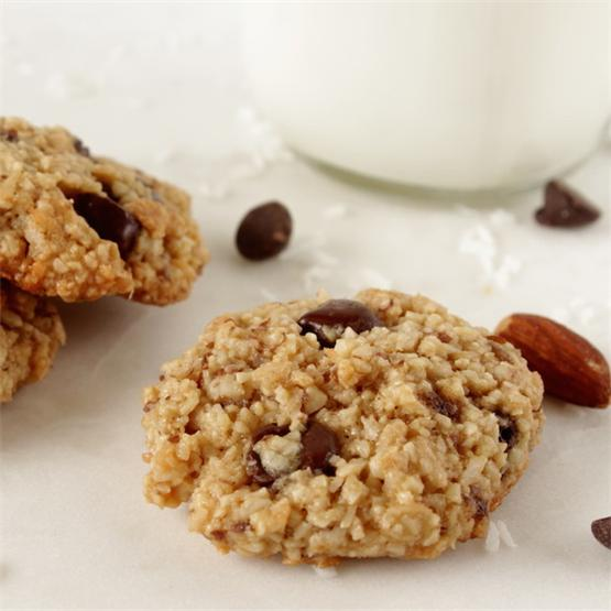 Gluten free almond cookies with coconut and chocolate chips.