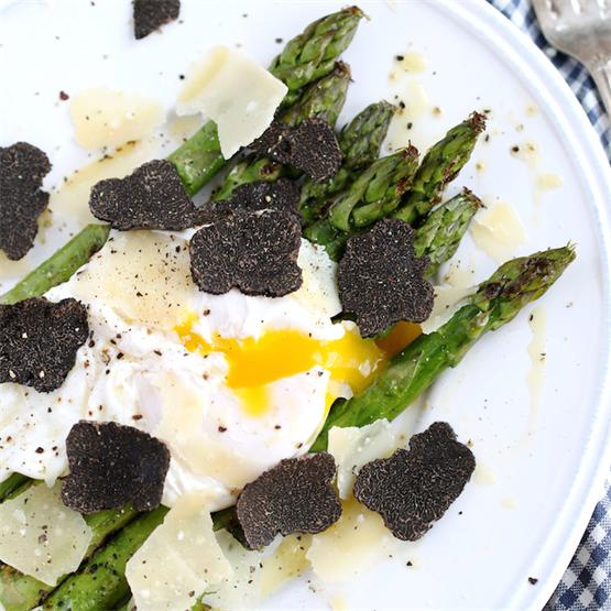 Grilled Asparagus with poached egg, Parmigiano and truffle