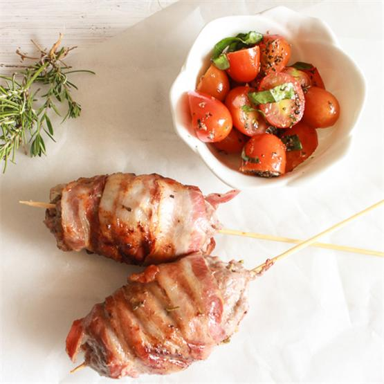 Bacon Wrapped Pork and Beef Skewers