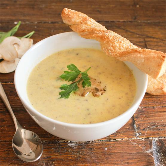 Creamy Mushroom Soup and Parmesan Bread Twists