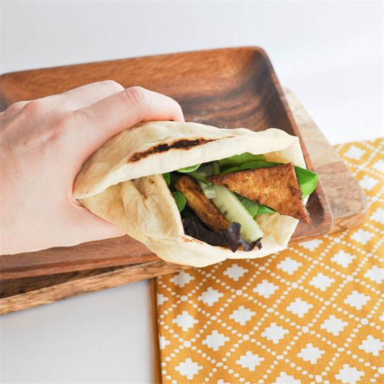 Crispy Tofu Wrap with homemade, thick tortillas