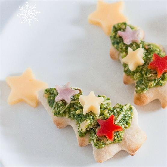 Christmas Tree Pesto Pizza Bites