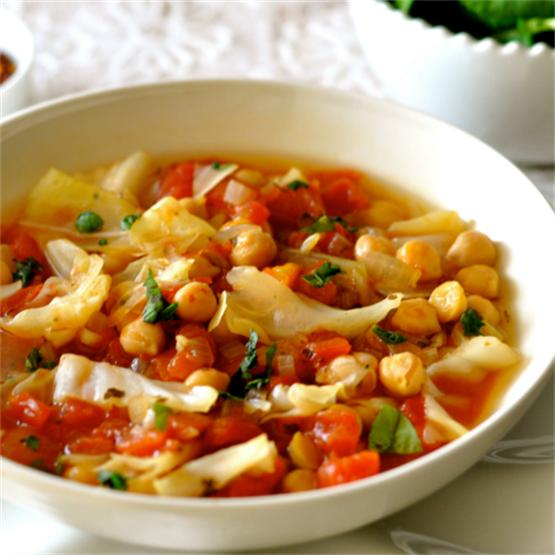 Chickpea Soup with Cabbage,Tomatoes & Basil