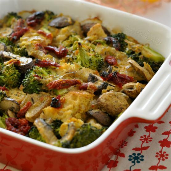 Creamy Broccoli Casserole with Mushrooms & Vegan Eggs