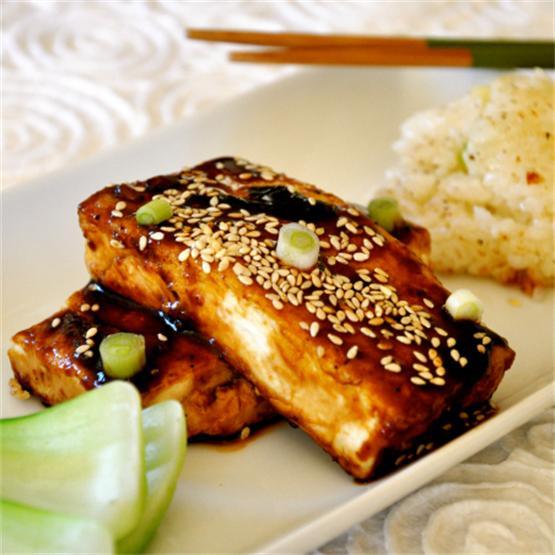 Teriyaki Tofu with Sticky Rice Cakes