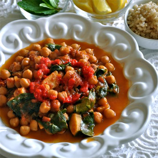 Chickpea Stew with Spinach, Lemon, Mint and Red Pepper Purée