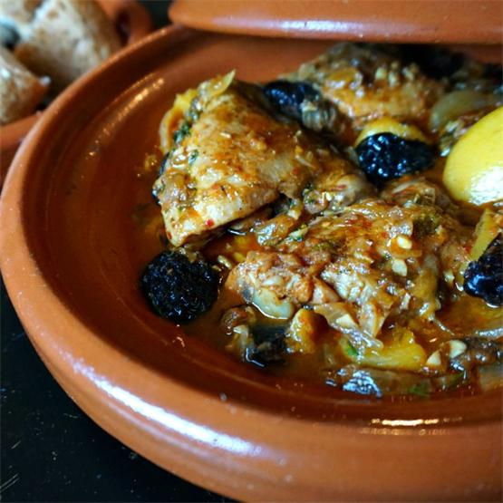 Chicken Tagine with Apricots, Prunes and Preserved Lemon
