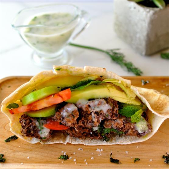 Healthy Vegan Burger with Creamy Cucumber Sauce