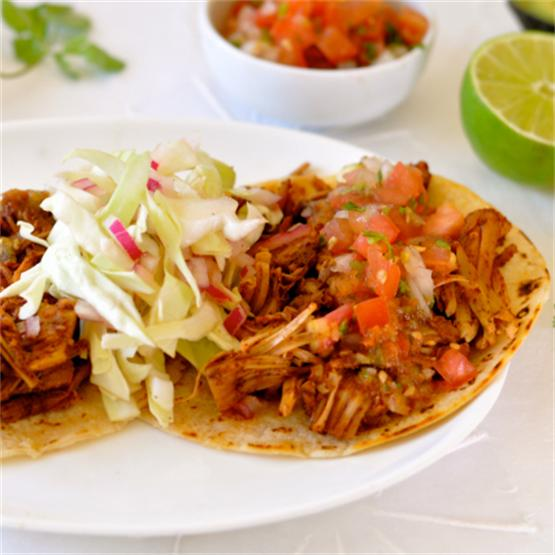 Jackfruit Tacos with Roasted Tomato Salsa & Coleslaw