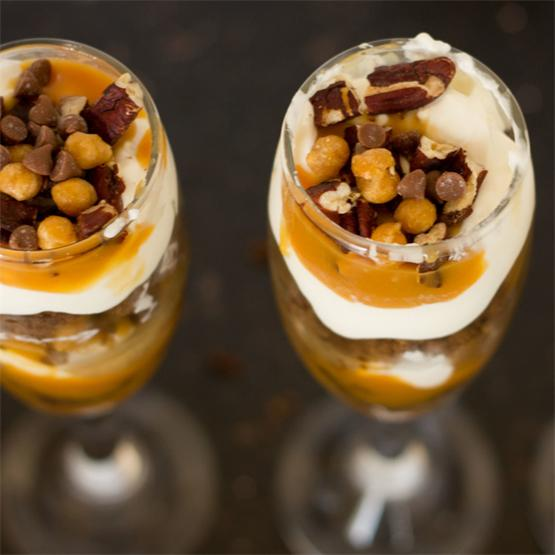 Boozy Caramel Turtle Dessert Shots