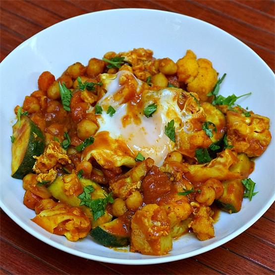 Curried Vegetables in a Tomato Gravy with Poached Eggs