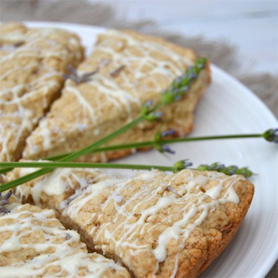 Lavender, apple and white chocolate scones