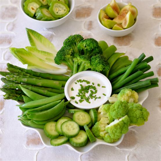 """Green With Envy"" Crudite Platter with Creamy Vegan Ranch Dress"