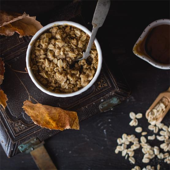 Boozy Caramel Apple Crisp