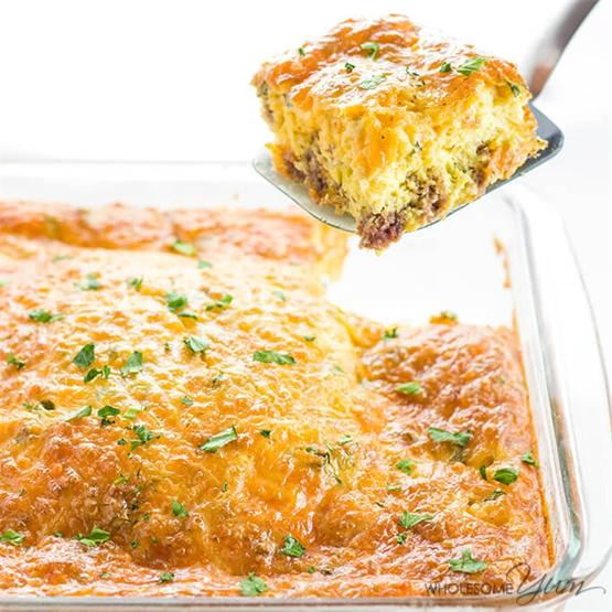 Low Carb Breakfast Casserole with Sausage & Cheese (GF)