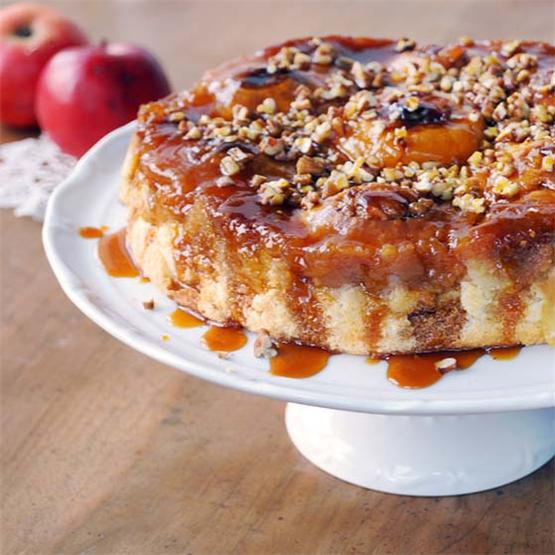 Caramel cake from whole apples and a flavor of Calvados
