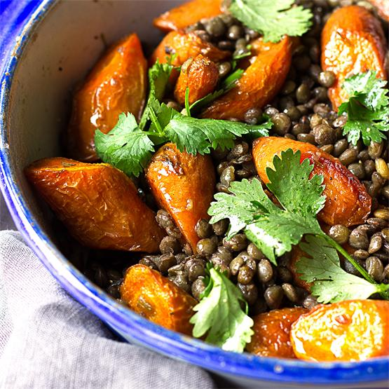 Coconut Roasted Carrots and Puy Lentil Salad