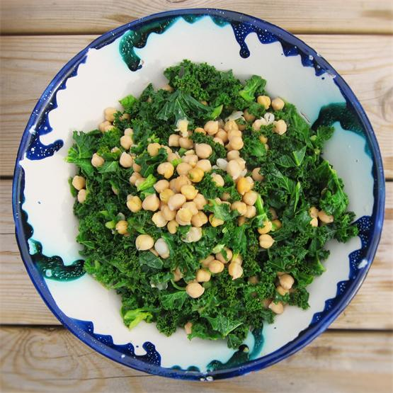 Chickpea and Kale Salad with Tahini and Miso Dressing
