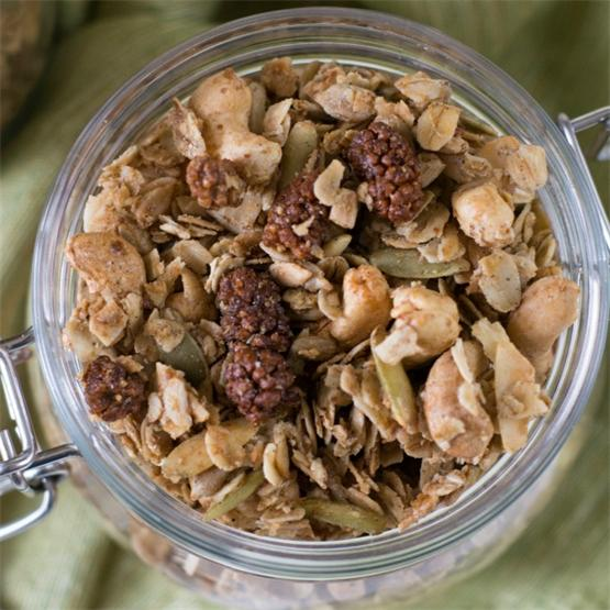 Homemade Mulberry Cardamom Granola