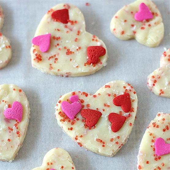 Minty White Chocolate Fudge Hearts
