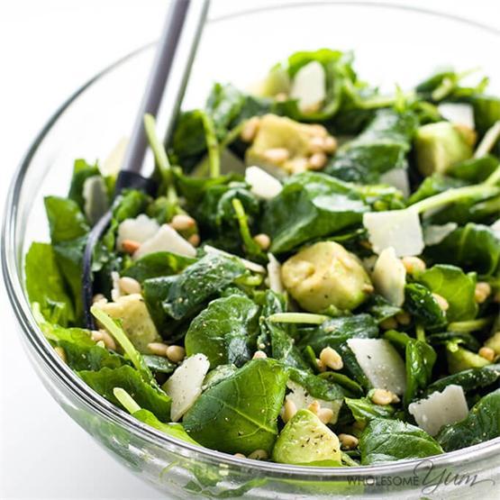 Baby Kale Avocado Salad W/ Lemon Garlic Vinaigrette & Parmesan