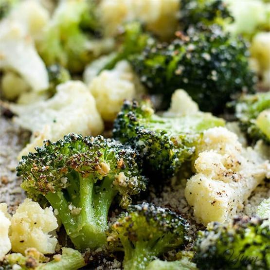 Roasted Broccoli And Cauliflower With Parmesan & Garlic (GF)