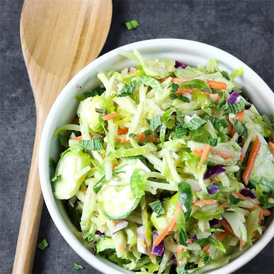 Detox Broccoli and Brussels Sprout Slaw