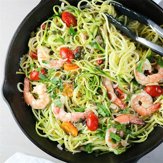 Shrimp Zoodles in a White Wine Sauce