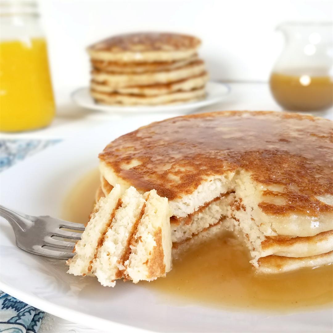 Fluffy Grain-Free Pancakes with Cinnabun Sauce - GF & Vegan