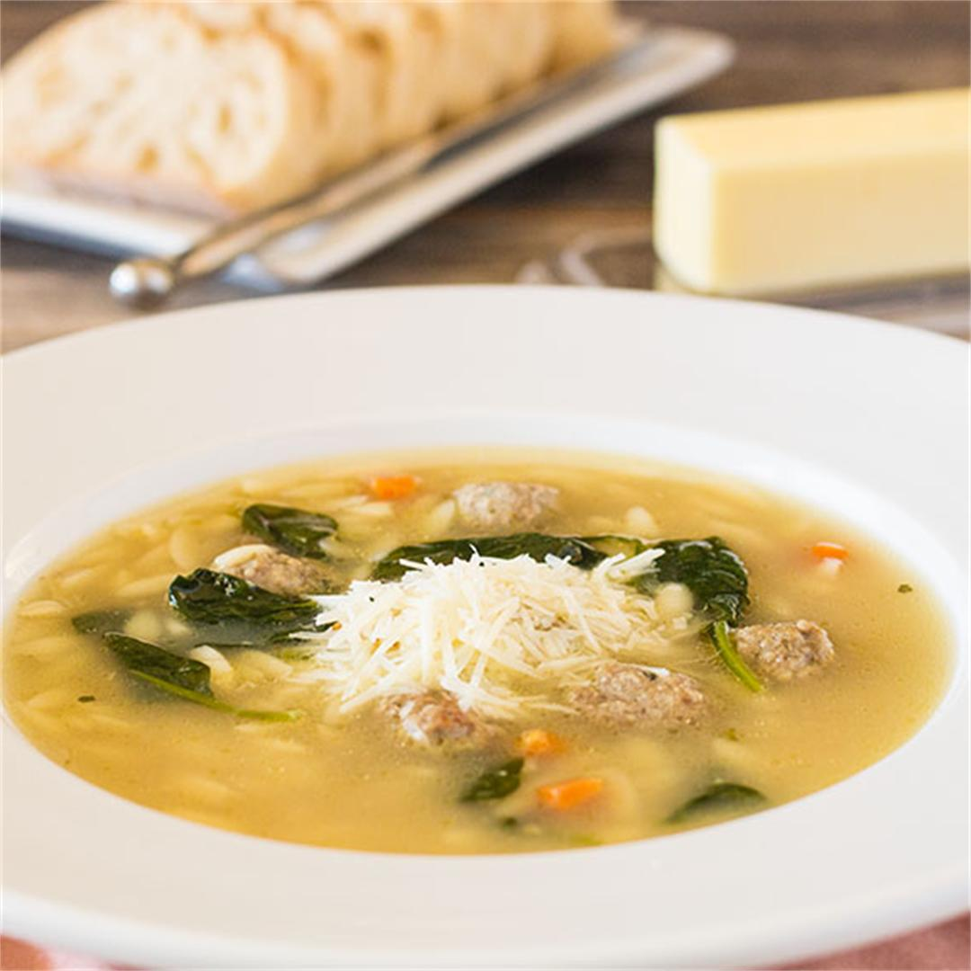 Italian Wedding Soup - Chicken broth filled with mini meatballs