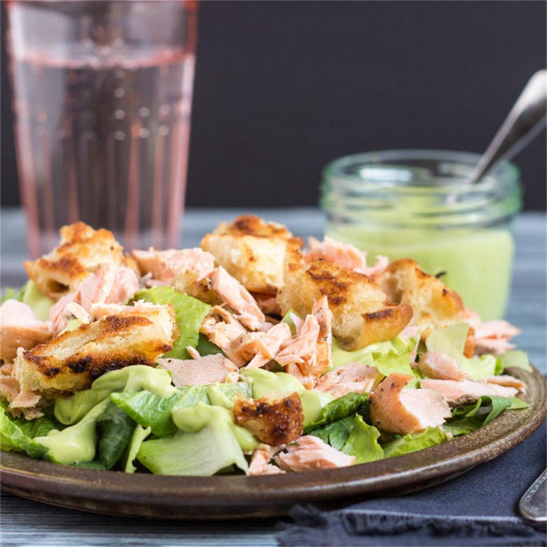 A 15 Minute Leftover Salmon Caesar Salad Recipe