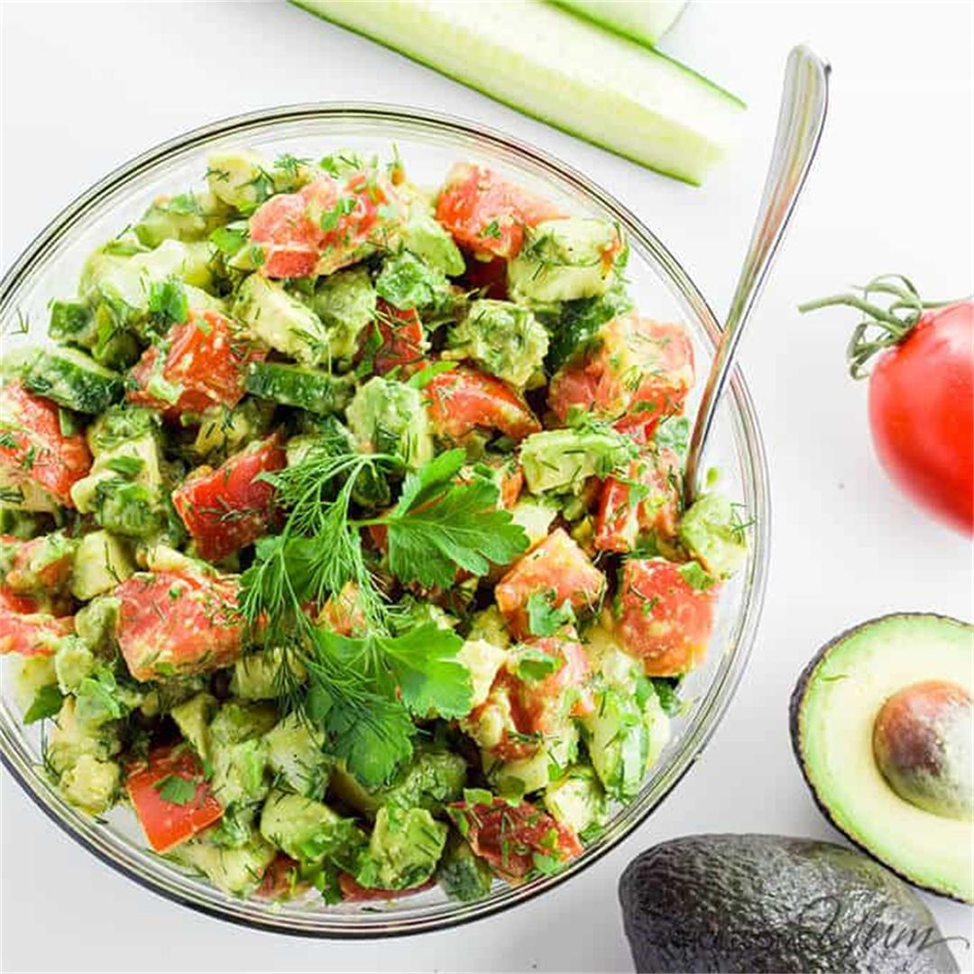 Cucumber Tomato Avocado Salad (Paleo, Low Carb)
