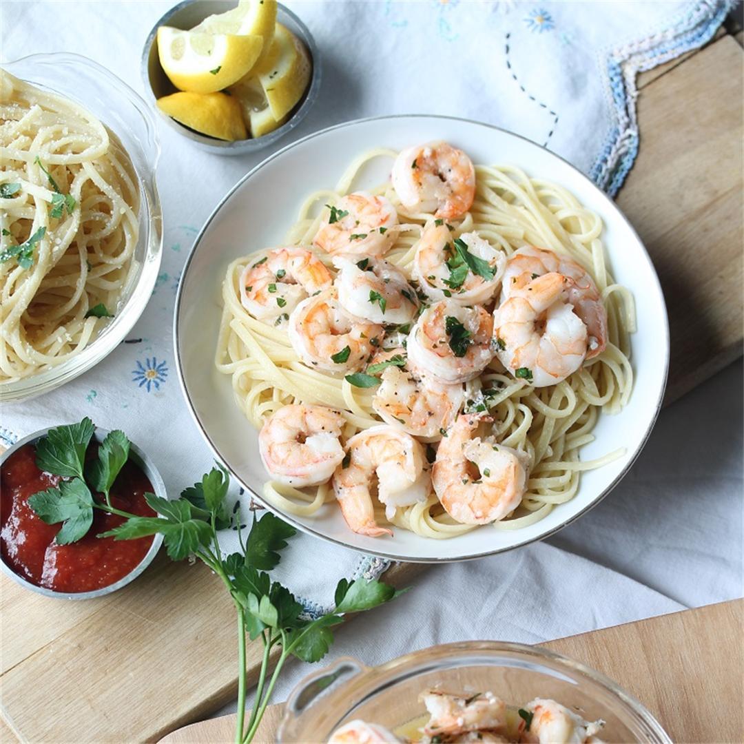 Quick Shrimp Linguine with Garlic-Lemon Butter