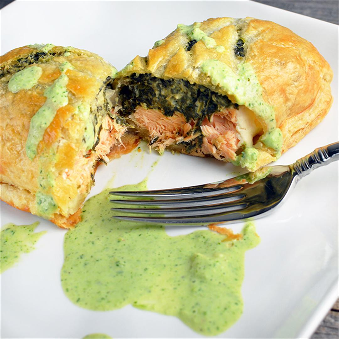 Salmon Wellington Creamy Herb Sauce