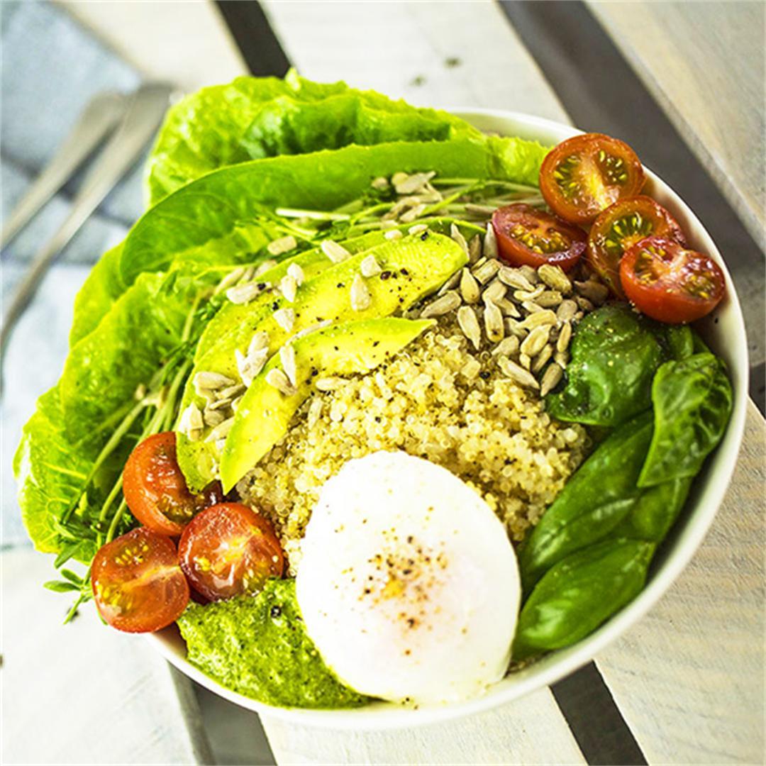 Quinoa Breakfast Bowl with Poached Egg, Avocado & Pesto