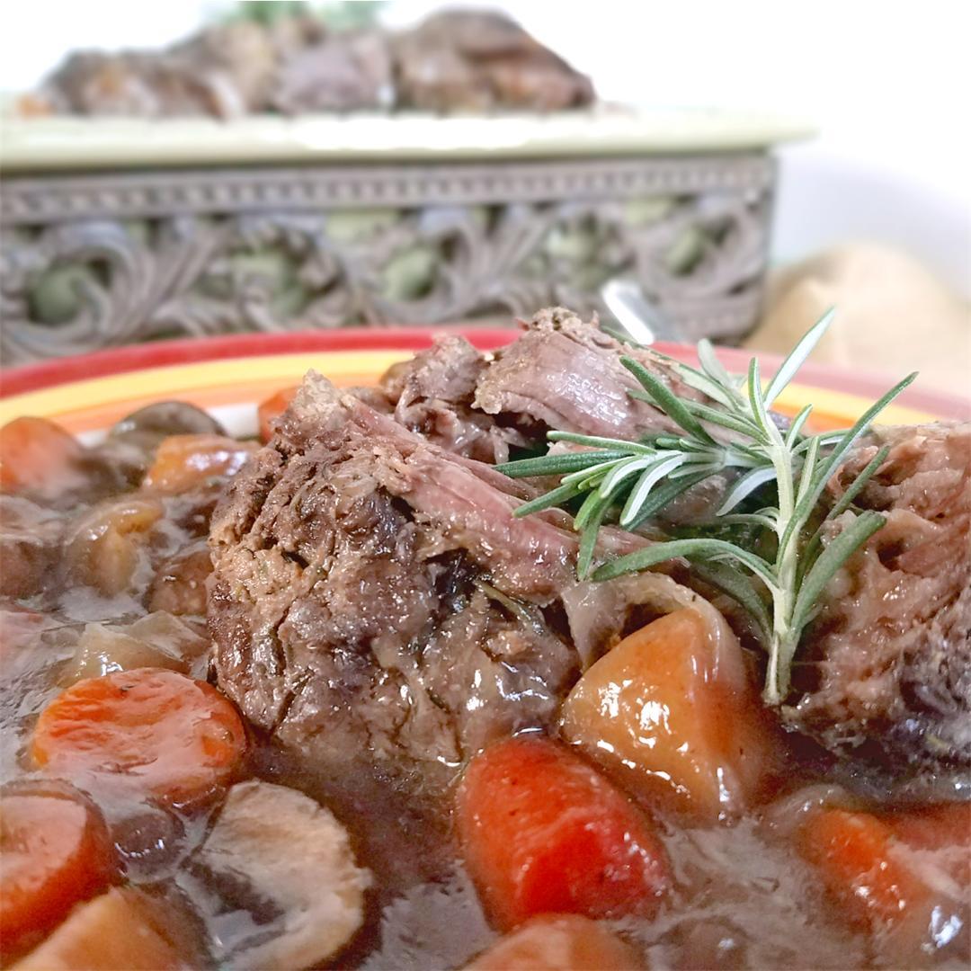 Fork Tender Dijon Rosemary Pot Roast & Veggies - Paleo