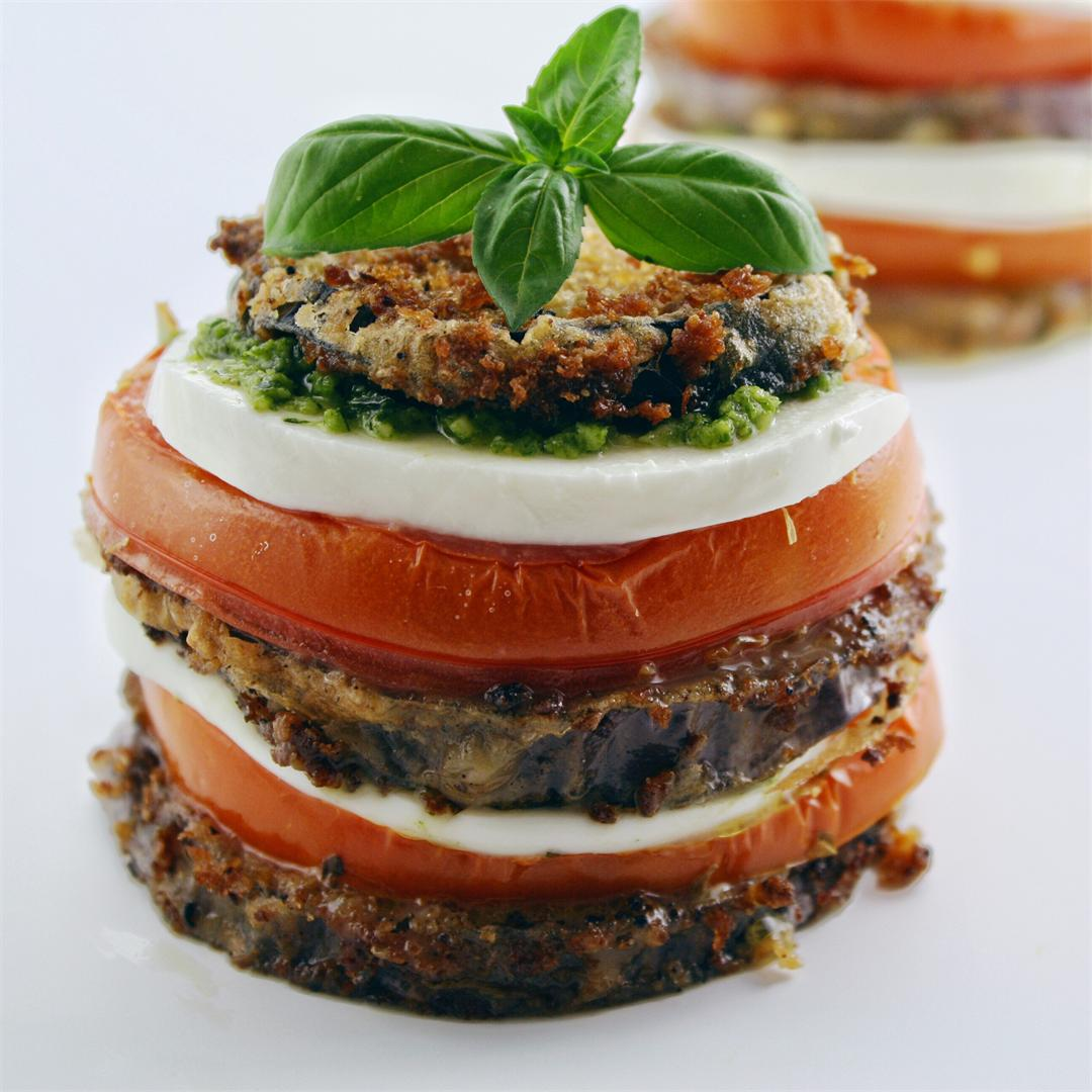Eggplant Napoleon with Pesto and Garlic
