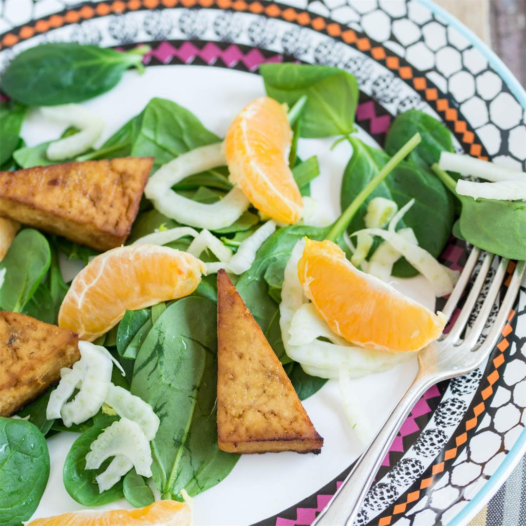 Baked Tofu, Fennel and Mandarin Salad (Vegan)