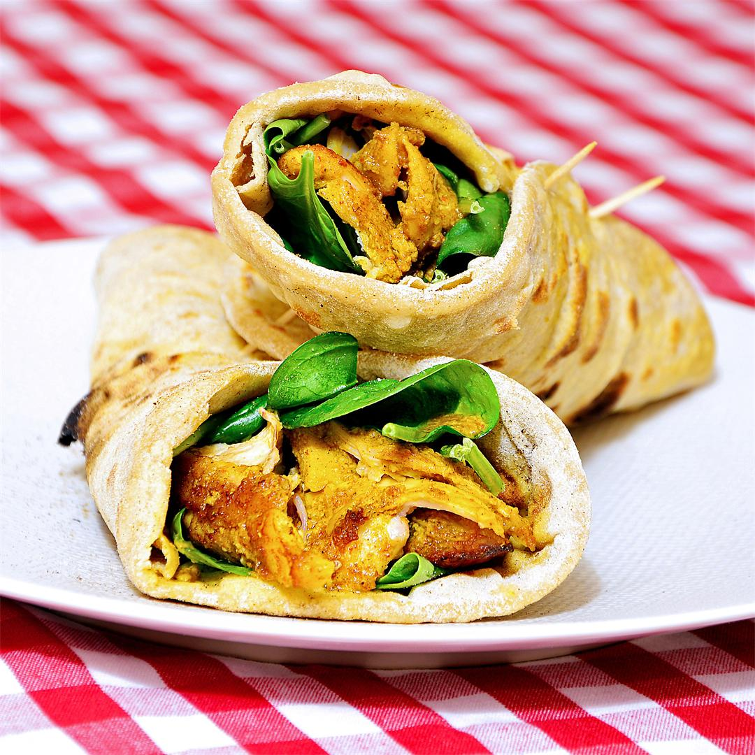 Tandoori Chicken Wrapped in Indian flatbread