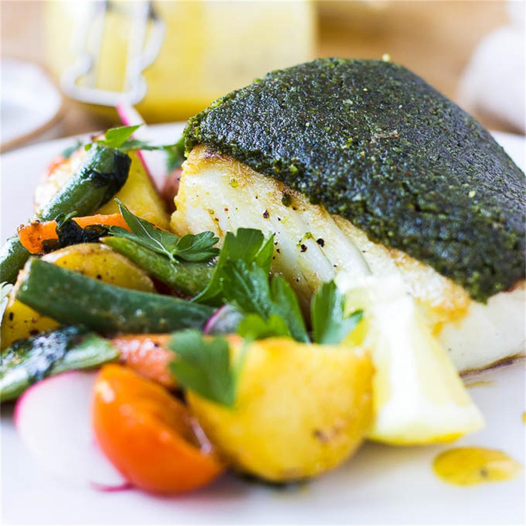 Almond and Herb Crusted Haddock