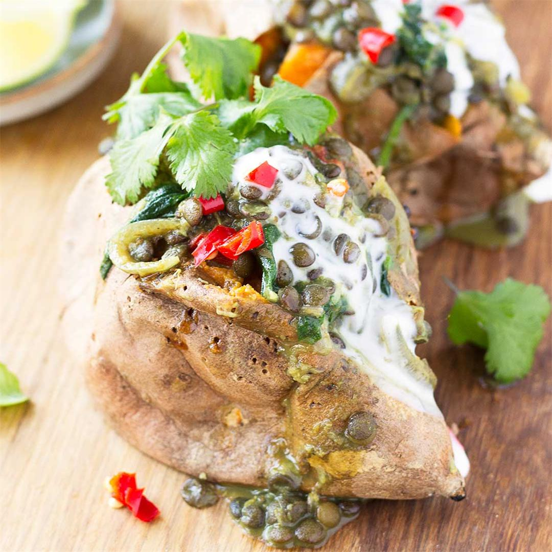 Curried Lentil Stuffed Sweet Potatoes