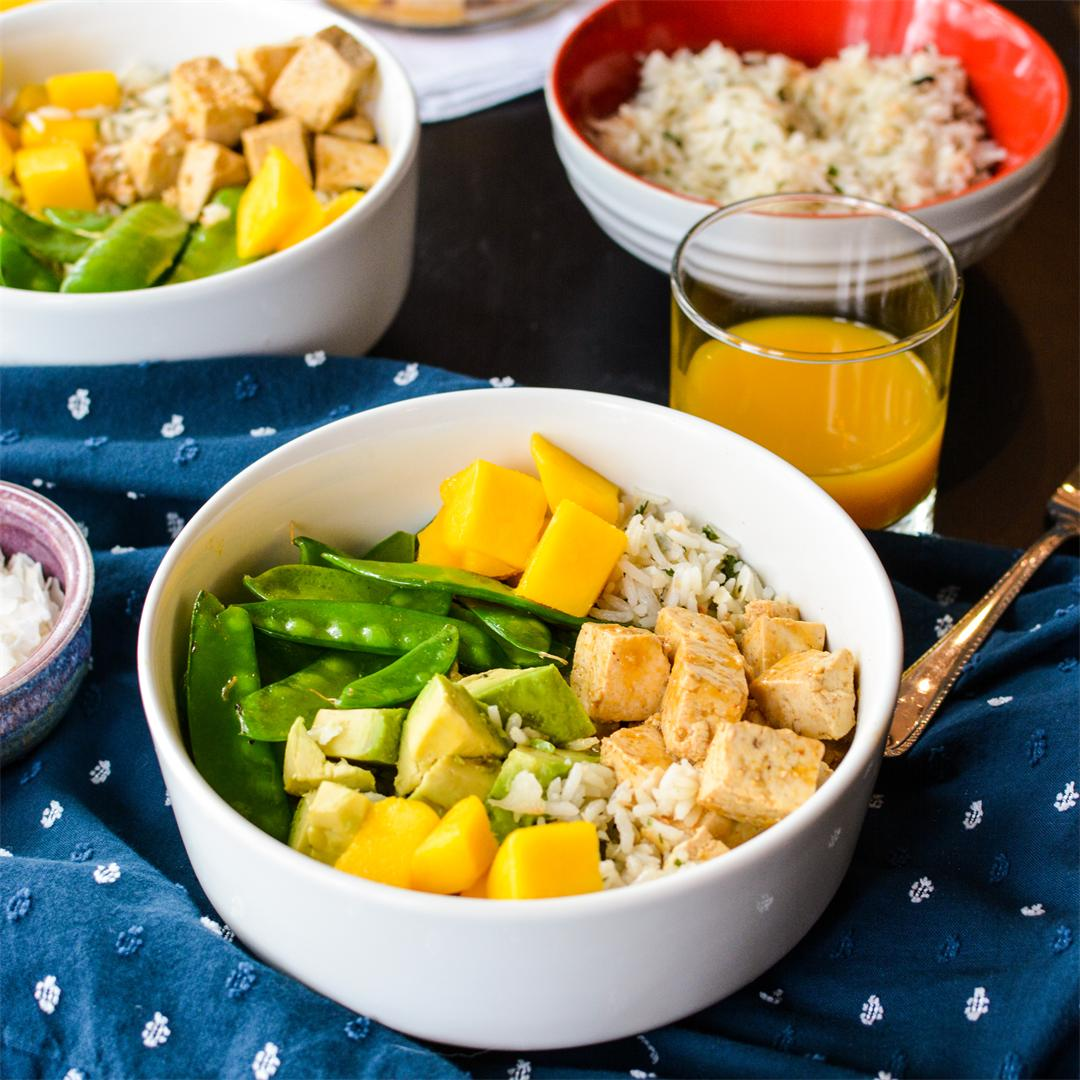 Mango Glazed Tofu with Coconut Rice