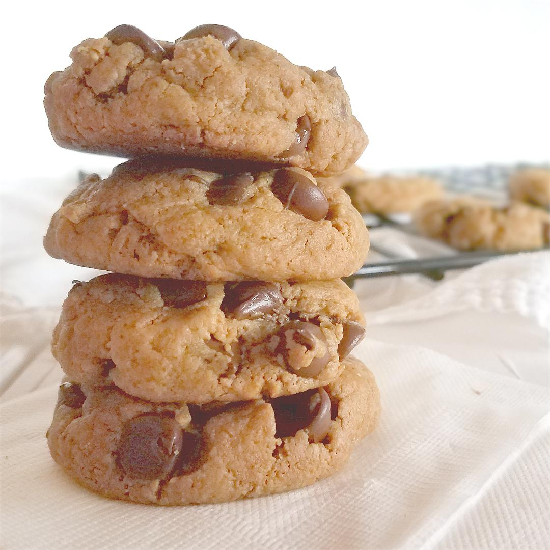 Easy Peanut Butter Chocolate Chip Cookies - Paleo, Vegan, GF