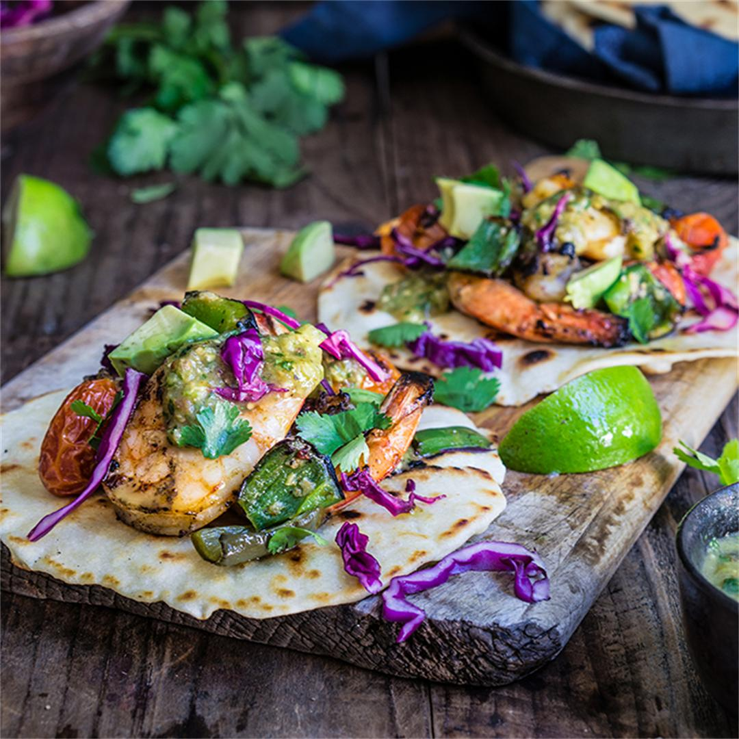 Grilled shrimp tacos with tomatillo salsa & homemade tortillas
