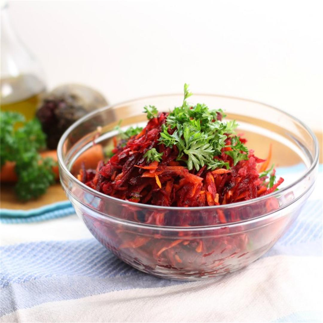 Shredded Beet Salad with Carrots and Apples