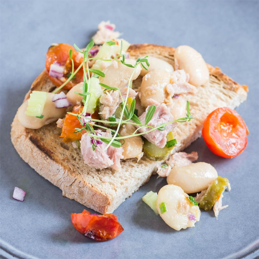 Tuna Salad with Beans, Celery and Cherry Tomatoes