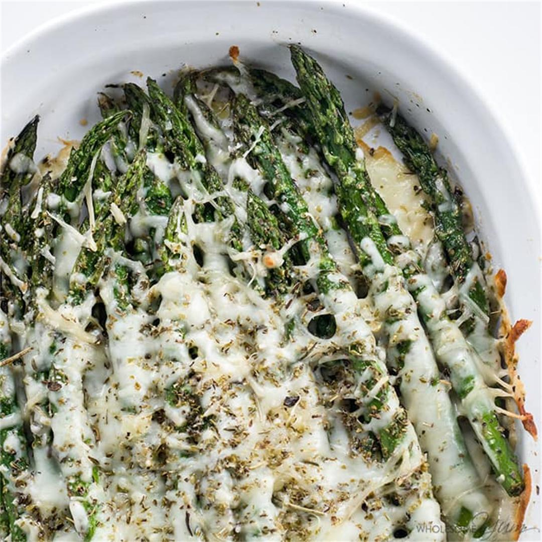 Cheesy Asparagus - 5 Ingredients (Low Carb, Gluten-Free)